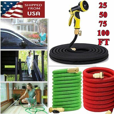 3X Stronge 25-100 FT Expanding Flexible Garden Water Hose +Spray Nozzle MY