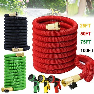 Deluxe 25 50 75 100 Ft Expandable Flexible Garden Water Hose w/ Spray Nozzle MY