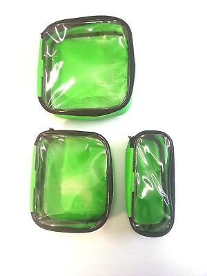 Green Dura Wipe Down Clear Lid Velcro Pouches For First Aid Paramedic Bags