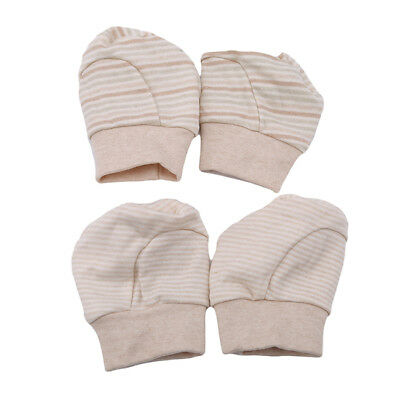 Striped Boy Girl Newborn Anti Scratch Infant Warm Foot Gloves Mittens Unisex N7