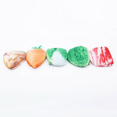 Vegetables Vintage Small Wallet Plush Purse Zipper Design Coin Purse one