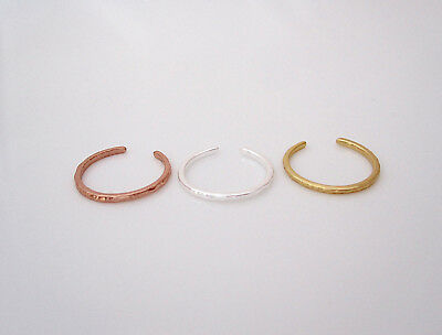 Hammered sterling silver, yellow gold or rose gold plated silver toe ring