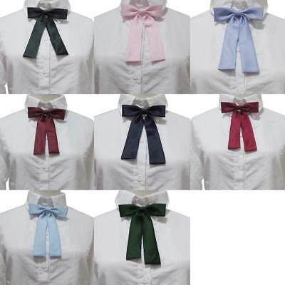 Women Girls School Style Shirt Collar Bow Tie Ribbon Solid Flower Multicolor OC#
