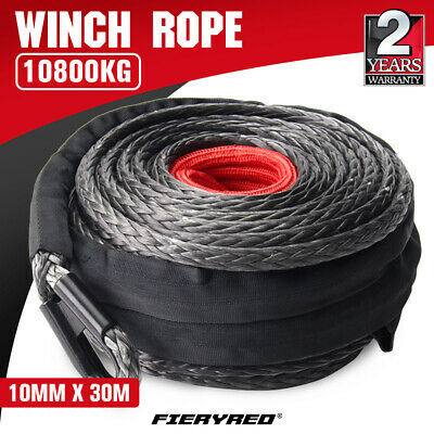 Winch Rope 10mm x 30m Dyneema SK75 Synthetic Rope Tow Recovery Offroad 4x4