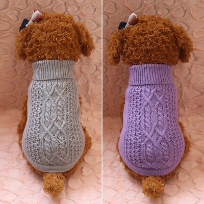 Pet Dog Warm Knitted Sweater Puppy Clothes Coat Winter Apparel Small Medium Dog