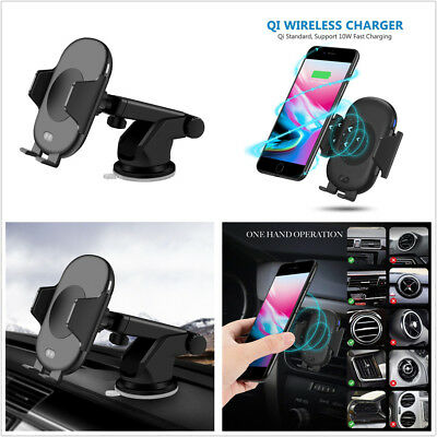1X QI Fast Wireless Car Charger 10W Infrared Induction Air Vent Car Phone Holder