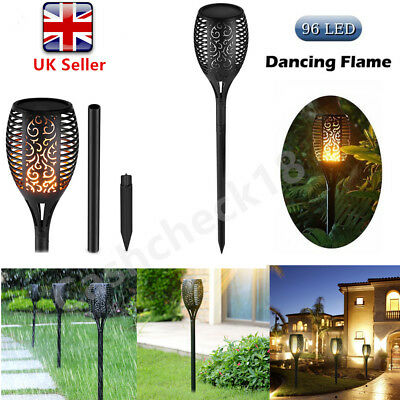 4PCS 96 LED Solar Torch Light Flickering Lighting Dancing Flame Garden Lamps cck