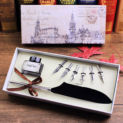 Retro  Goose Feather Quill Dip Pen Metal Nip with Black Ink + 6 Nibs Set Gift