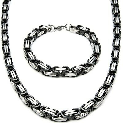 5MM x 70cm Set Byzantine King's Chain + Wristband Stainless Steel Silver Black