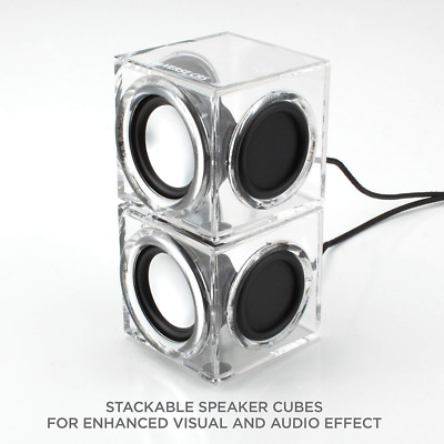 Clear Cube USB Powered Wired PC Speakers Mini Ice Block Acrylic Industrial Décor