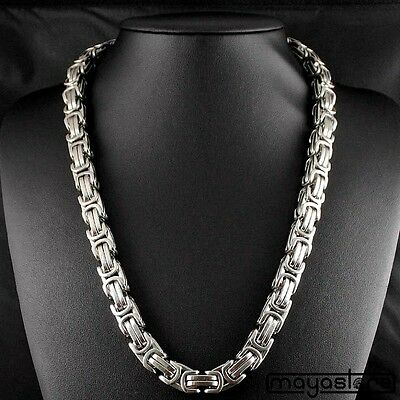 45cm x 14mm King's Chain Silver Solid Byzantine Curb Necklace Stainless Steel