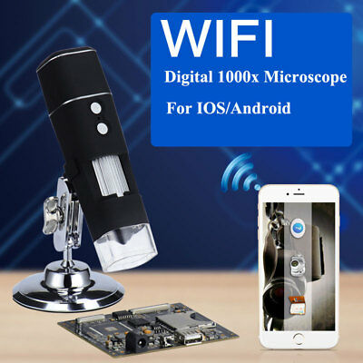 MICROSCOPIO WIFI DIGITALE 1000X NOTEBOOK FOTO VIDEO 8 LED 2.0MP Zoom STAFFA 720P