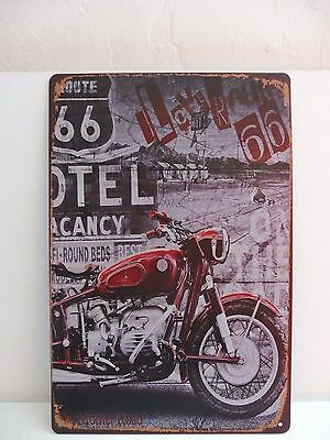 "Placa Metal Chapado Vintage Moto ""I Love You Route 66"" 30 X 20 nuevo cm Lámina"
