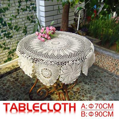Lace Round Table Cloth Cover Handmade Crochet Hook Flower Cotton Woven Placemat