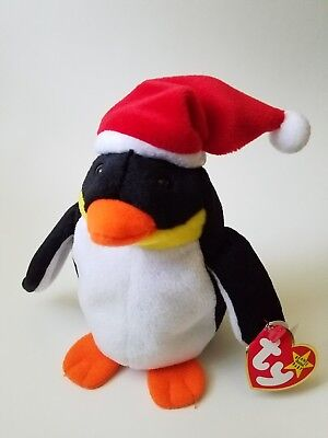 TY Beanie Babies Penguin Zero With Santa Christmas Hat Retired 1998  With Tags