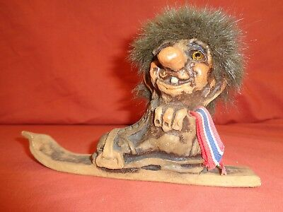 Rare Vintage NyForm  Norway Norwegian Troll Doll Ski Norway Flag