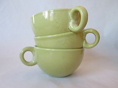 SET 3 CUPS! Vintage RUSSEL WRIGHT IROQUOIS CASUAL pattern: AVOCADO YELLOW exc
