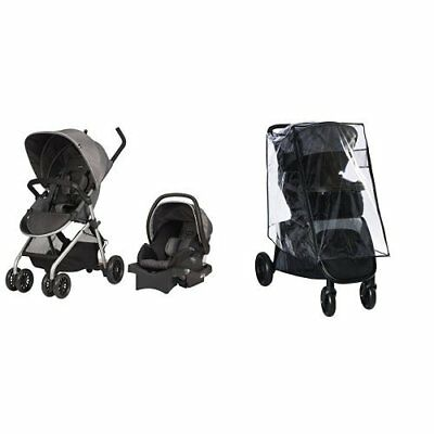Evenflo Sibby Travel System, Highline Gray With Stroller Weather Shield  Rain C