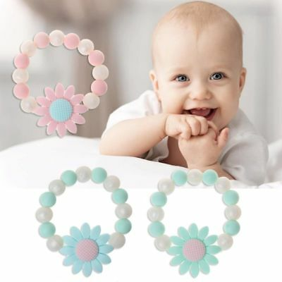 Baby Teether Bracelets Sunflower BPA Free Silicone Chew Beads Teething Toys Gift