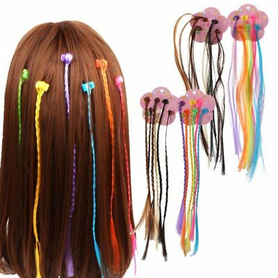 2cards/12pcs Kids Girl Colorful Wigs Ponytail Hairpin Beauty Headwear Hair Braid