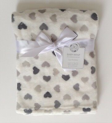 Very Soft Coverage For Baby White With Hearts Grey