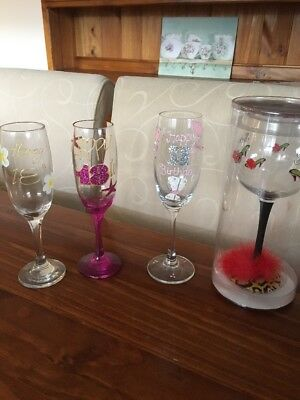 Unwanted Birthday Wine,Champagne Flute Glasses Gift Party 18th,18th, 21st &Sexy
