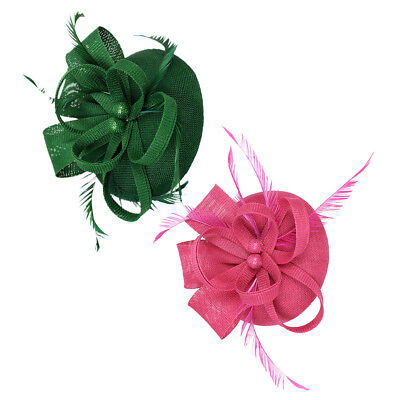 2xWedding Feder Fascinator Stirnband Pillbox Hut Braut Kopfschmuck Rose +