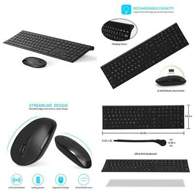 Vive Comb Wireless Keyboard And Mouse, 2.4Ghz Rechargeable Compact Whisper-Quiet