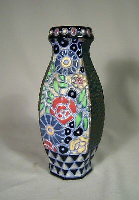 Vintage Amphora Czechoslovakia Pottery Carved Incised Relief Enamel Small Vase