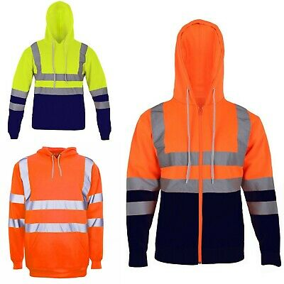 Mens Hi Vis Hooded Zipper High Visibility Safety Reflective Tape Band Work Wear