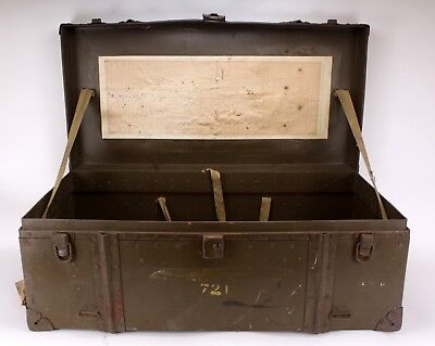 Wwii Korean Army Lieutenant Fc Folley Large Metal Foot Locker Military Chest