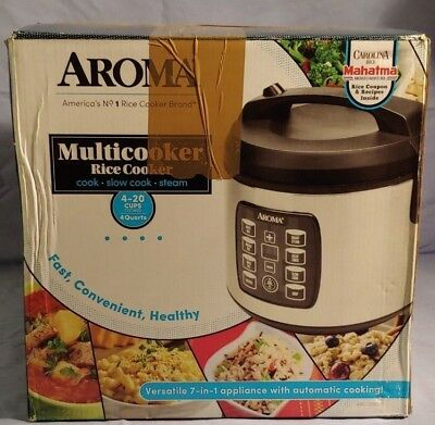 Aroma Multicooker Rice Cooker 4-20 Cups Cooked 4 Quarts ARC-103OSB-N.O