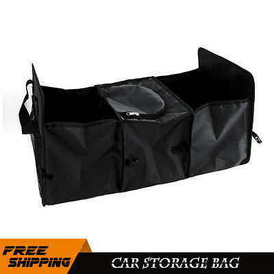 Car Foldable Multi Collapsible Cargo Organizer Box Bag with Cooler Storage Black