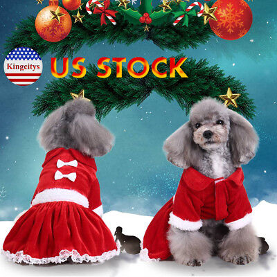 Pet Dog Puppy Outfit T-Shirt Fancy Dress Jumper Clothes Christmas Xmas Costume