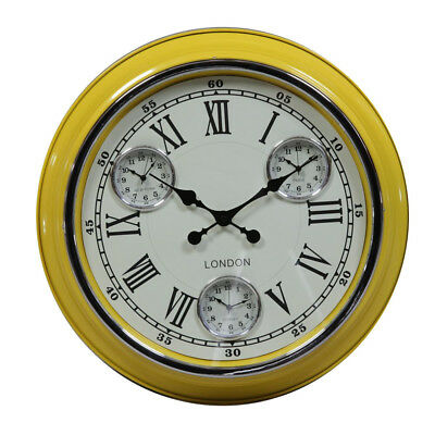 Retro Vintage London Large Metal Multi Dial Wall Clock Yellow & White Face