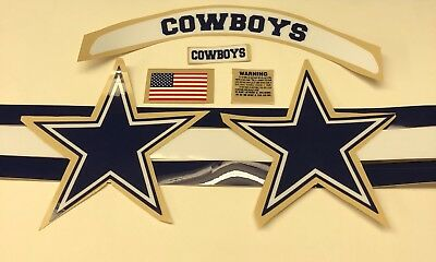 Dallas Cowboys Full Size Speed Football Helmet Decals High Quality Complete FS