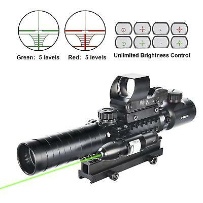 3-9x32 Rifle Scope Illuminated w/ Dot Sight Green Laser + High Riser Mount