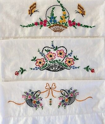 Vintage Embroidered Pillowcases Lot of 3 Butterflies Baskets Flowers Colorful