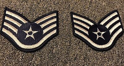 NEW PAIRED VINTAGE SEW ON USAF Air Force Rank Patch STAFF SERGEANT E-5 E5 RARE