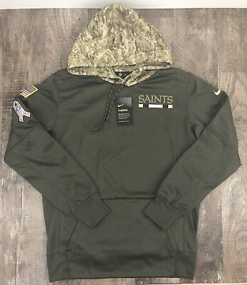 new concept 7f971 572e1 NIKE NFL 2017 New Orleans Saints Salute To Service Hoodie 853425 325 Sz Med