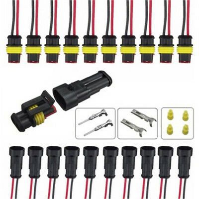 5x 2Pin Car Waterproof Electrical Connector Plug With Wire AWG Marine Black HOT