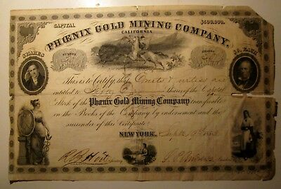 Nevada City,CA- Sept.19, 1853 - Phoenix Gold Mining Co. Stock Cert#30(50 Shares)