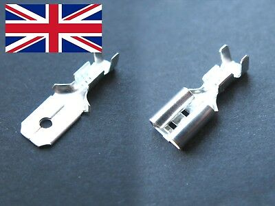 6.3mm Male or Female Spade Crimp Terminals 16-22awg 0.5-1.5mm² + pvc cover - UK