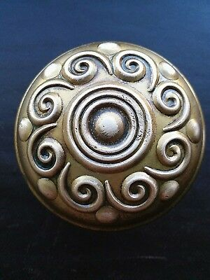 Antique Brass Bronze Door Knob Victorian Eastlake Sargent 'H' Design K30400 1894