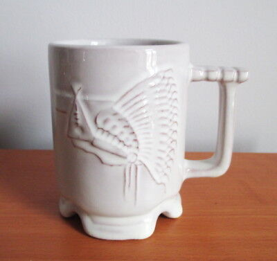 "Frankoma Mug C1 Indian Nations Council BSA Top Scouter Off White 4"" USA Pottery"