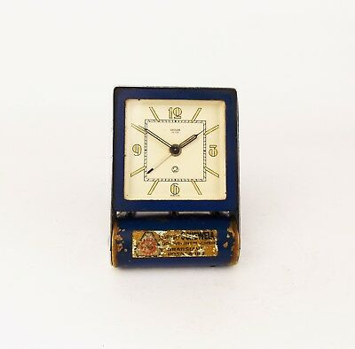 Vintage Art Deco Jaeger LeCoultre Travel Folding Alarm Clock in Rare Blue Color