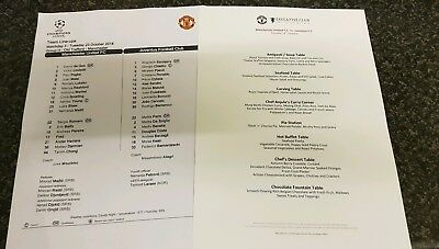 Manchester United V Juventus Offical Team sheet menu CHAMPION LEAGUE  23/10/18