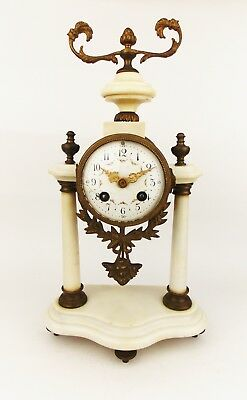 Antique 1880 French A.D Mougin Alabaster Striking Mantel Clock Louis XVI Revival