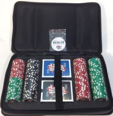 FULL TILT 152 PIECE CHIP POKER TRAVEL SET w/CARRY HANDLE 2-DECKS OF CARDS NEW