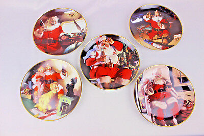 1994 1995 Coca Cola Plates Set of 5 Franklin Mint Santa Christmas Collector Lot